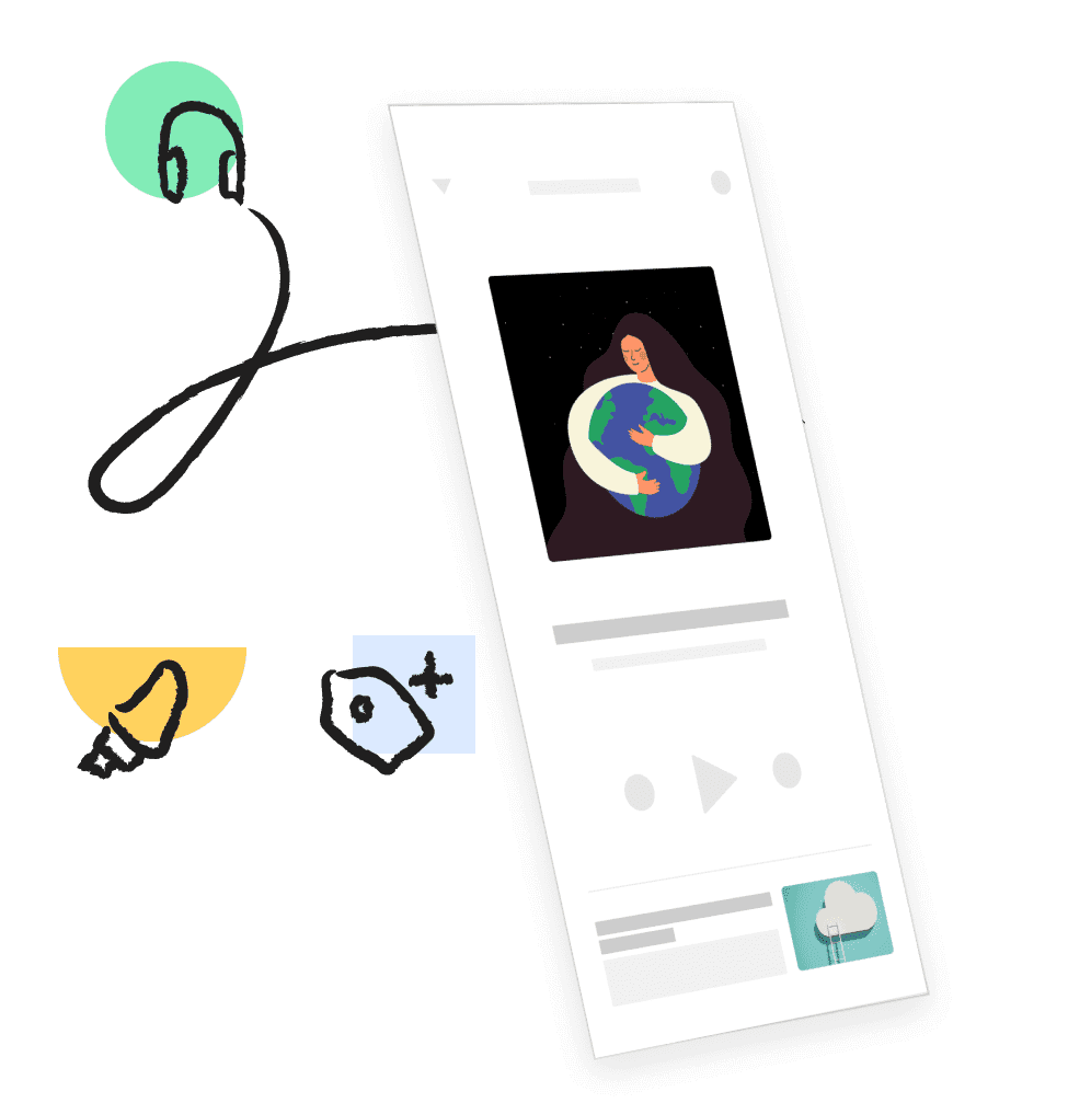 Mobile app screen with headphones. Illustration.